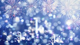 Blue Bokeh Background, blurred defocus Bokeh light of night city with celebration firework. S Royalty Free Stock Image
