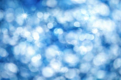 Blue bokeh background, ideal for Christmas Stock Photos
