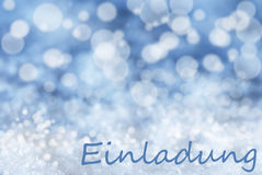 Blue Bokeh Christmas Background, Snow, Einladung Means Invitation Royalty Free Stock Photos