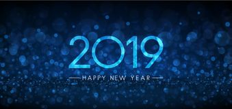 Blue bokeh 2019 Happy New Year banner. Vector background royalty free illustration