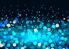 Blue bokeh lights on black background. Abstract bokeh lights in blue colors on the black background, vector illustration Stock Image