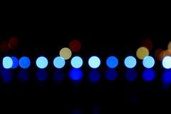 Blue Bokeh Lights. In A Line Stock Photos