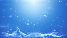 Blue bokeh lights and wavy lines abstract background Royalty Free Stock Images