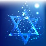 Blue bokeh Star of David glass glowing in the dark. Jewish symbol. Glow star david Judaizm symbol Glass gllitering Web Religion Shine Ornament sign tamplate vector illustration