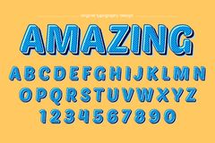 Blue Bold Retro Colorful Typography Design royalty free illustration