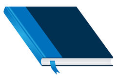 Blue book closed and bookmark. Book. Blue and closed with a bookmark isolated on a white background. Ample space to add copy text on the cover royalty free illustration