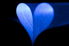 Blue book heart. Heart shape made of a book pages Stock Photos