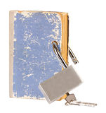 Blue book with a new metal lock inserted through t Stock Photo