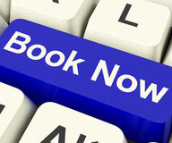 Blue Book Now Key For Hotel Or Flight Reservation Online Stock Photos