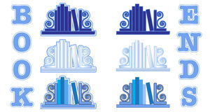 Blue Bookend icons Stock Images