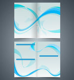 Blue booklet, template design  with waves Royalty Free Stock Photography