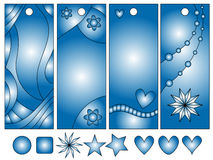 Blue bookmark or tag collection Royalty Free Stock Photos
