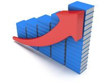 Blue books graph with red arrow Royalty Free Stock Photo