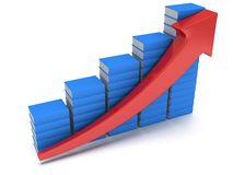 Blue books graph with red arrow Stock Image