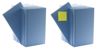 Blue books with label Stock Photo