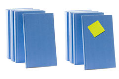 Blue books with label Stock Image