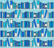 Blue books. Modern shelves with books in blue tones Stock Photo