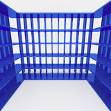 Blue bookshelf and data storage. On white background Royalty Free Stock Photography