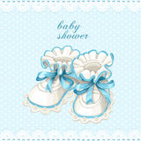 Blue booties baby shower card Stock Image