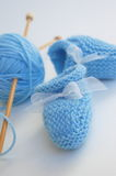Blue booties and Ball of Yarn Royalty Free Stock Photos