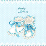 Blue booties for newborn baby shower card Royalty Free Stock Photography