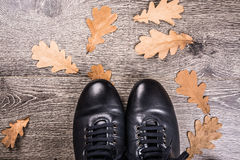 Blue boots on the ground Royalty Free Stock Images