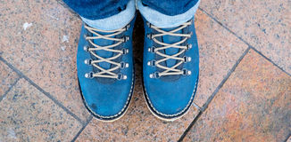 Blue boots Royalty Free Stock Photography