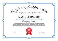 Blue Border Certificate of Appreciation for Excellence Performance royalty free stock photo