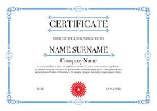 Blue Border Certificate of Appreciation with security printing Royalty Free Stock Images