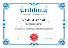 Blue border certificate for Excellence Performance Royalty Free Stock Image