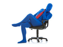 Blue: Bored Businessman in Chair Stock Images