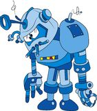 Blue bot. Vector illustration of broken blue brass robot character royalty free illustration