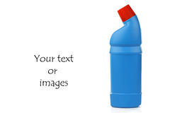 Blue bottle with cleaning fluid Royalty Free Stock Image