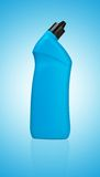 Blue bottle of cleaning supply for toilet Royalty Free Stock Photo