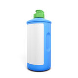 Blue bottle of detergent with label. On white background. Bottle of detergent for your design. 3d illustration Royalty Free Stock Photography