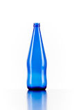 Blue bottle of glass isolated on white background.  Royalty Free Stock Images