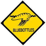 Blue bottle jellyfish warning sign Royalty Free Stock Photos