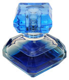 Blue bottle of perfume Stock Images
