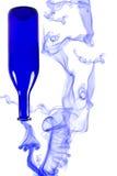 Blue bottle with smoke isolated on white background Stock Image
