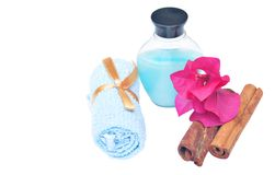 Blue Bottle and Towel Stock Images