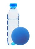 Blue bottle with water and ball isolated on white Royalty Free Stock Images