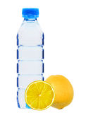 Blue bottle with water and fresh yellow lemon isolated on white Royalty Free Stock Photo