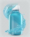 Blue bottle and water splash. 3d vector icon. Blue bottle and water splash. 3d realism, vector icon Stock Photo