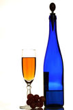 Blue bottle of wine, glasses a Royalty Free Stock Image