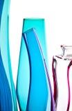 Blue bottles inn a row Royalty Free Stock Photography