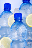 Blue bottles of water in ice Stock Photography