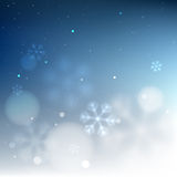 Blue bottom border snowy blurred background. Template for invitation card or poster design Royalty Free Stock Images