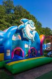 Blue bounce house. Front of a blue bounce house with sea theme on the Frajda Park in the summer season on August 2017 in Poznan, Poland Royalty Free Stock Photos