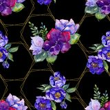 Blue bouquet flowers. Floral botanical flower. Seamless background pattern. stock image