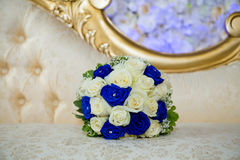 Blue bouquet. Blue and white themed wedding bouquet Royalty Free Stock Photos